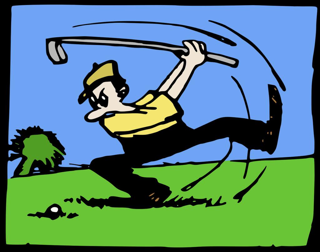 Tecknad golfspelare